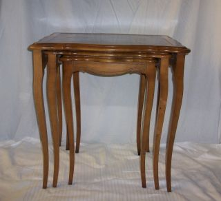 Fine Maple Wood Leather - Top Nesting Accent Tables photo