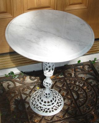 Brass Pedestal Base Table With Round Marble Top photo