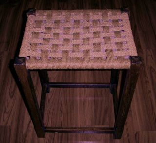 Vintage Shaker Style Wooden Stool With Woven Seat Cool photo