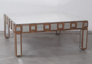 Stunning Vintage Style Antique Mirrored Mosaic Gilt Coffee Table. photo