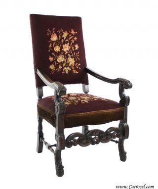Antique Late 19th Century Tudor Solid Mahogany Needlepoint Throne Arm Chair photo