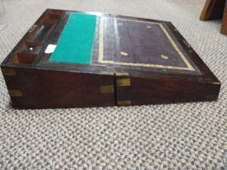 1875 Writing Slope Rosewood & Brass Bound Lap Desk photo