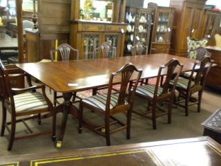 Banded Mahogany 10 Ft.  Double Pedestal 3 Bd Table,  Ca 1950 Inv 9792b photo