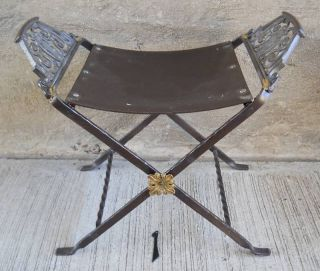 1 Vtg Industrial Metal Deco Vanity Bench,  Stool photo