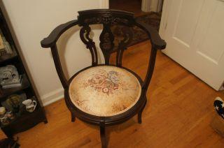 Antique Victorian George 111 Walnut Corner Carved Chair photo