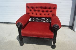 Ant.  Victorian Tufted Back Red Velvet Chair Lion Head Arms Acorn Carved Detail photo