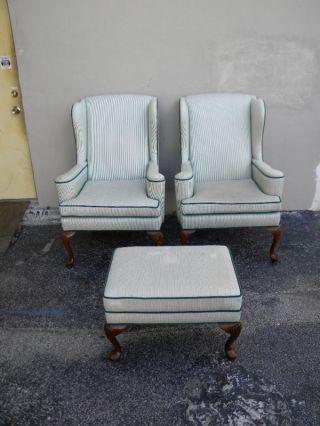 Pair Of Ethan Allen Queen Anne Legs Chairs & Ottoman 819 photo