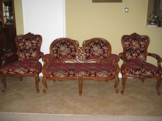Rare Old Antique French Style Loveseat W/2 Chairs photo