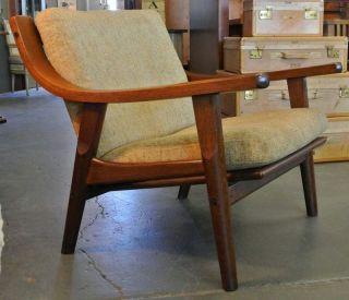Vintage Danish Modern Design Hans Wegner Oak Slat Back Lounge Chair Denmark photo
