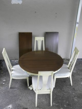 French Painted Dining Table With 4 Chairs And 2 Leaves 1190 photo