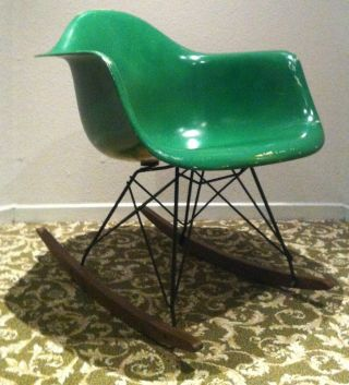 Eames Forest Green Parchment Fiberglass Rocker Herman Miller Rocking Chair Rare photo