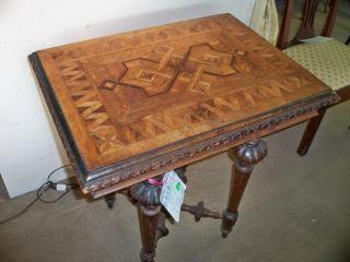 Antique French Table Oak Unique Top photo