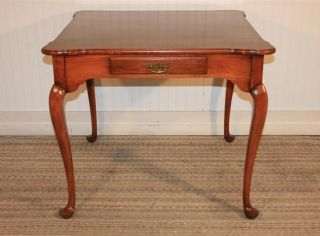 Statton Trutype Oldtowne Solid Cherry Queen Anne One Drawer Card Game Table photo