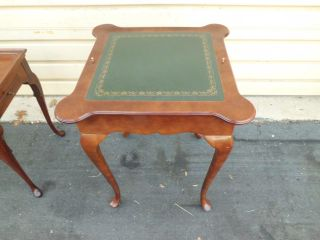 51043 Cherry Queen Anne Leather Lift Top Checkers Chess Backgammom Game Table photo