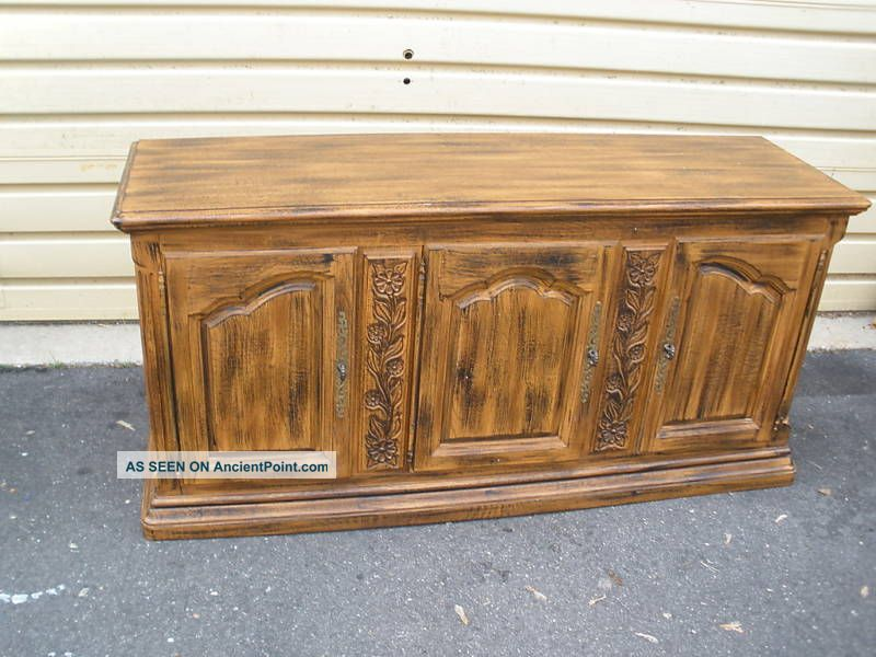 46772 Quality Oak Buffet Server Sideboard Cabinet Post-1950 photo