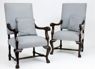 Pair Of 19th Century Antique French Mahogany Armchairs photo