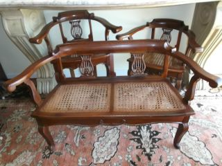 Antique Oak And Wicker Miniature Childs Or Dolls Chairs And Settee Circa 1910. photo