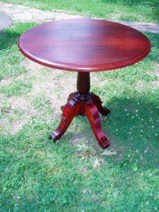 Rare Antique Mahogany Victorian Lazy Susan Tea Table photo