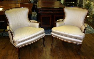 Pair French Carved Newly Upholstered Bergere Lounge Club Chairs Louis Xv C1950 photo