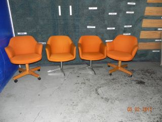 Vintage Industrial Hiebert Office Chairs Bright Orange Set Of 4 photo