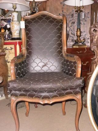 120a Country French Leather Wing Chair,  Arm Chair,  Side photo