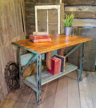 Vintage Industrial Birch Top Workbench Table Primitive Shabby Chic photo