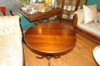 Antique English Mid - 1800 ' S Wooden Tilt Top Table photo