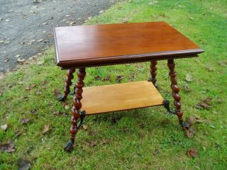 Antique Merklen Brothers Library Table With Carved Apron & Lion Head Feet photo