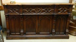 Antique Victorian Oak Gothic Revival Butlers Desk Mid 1800 ' S photo