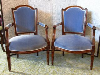 French Country Provincial Louis Xvi Style Carved Wood Arm Chairs Upholstered photo