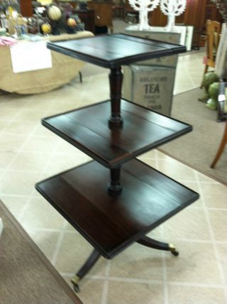 Gorgeous Antique Mahogany 3 Tiered Table (dumb Waiter) Square Circa 1820 photo