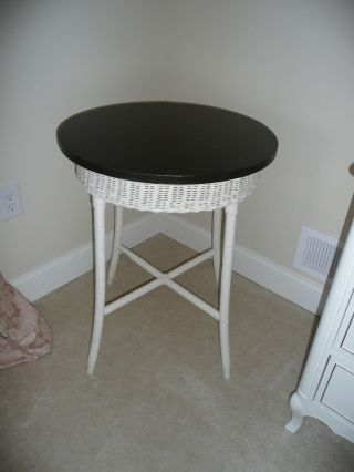 Antique Vintage Ivory Wicker Accent Table W English Brown 24 Inch Tabletop photo