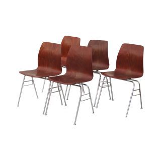 (5) Vintage Royal Metal Bent Plywood Side Dining Stacking Chairs photo