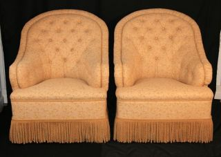 Pair George Smith Markham Tufted & Skirted Upholstered Arm Chairs Baker Quality photo