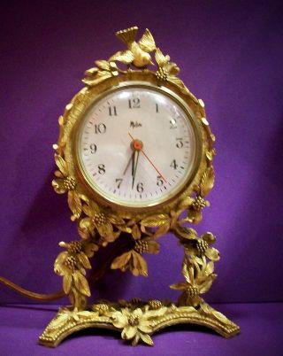Designer Matson Electric Clock Vtg Dogwood Bird Ormolu 24k Gold Plate Filigree photo