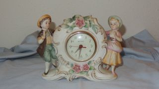 Meiko Wind Up Clock With Figurines Hand Painted In Japan photo