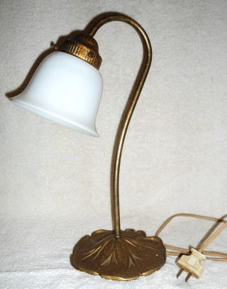 Antique Art Nouveau Brass Lily Pad Lamp White Opaline Glass Shade photo