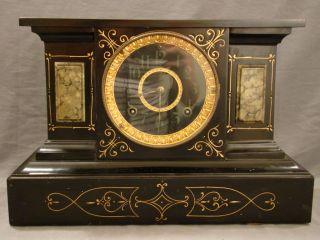 19thc Antique Gothic Mansion Victorian Ansonia Black Face Cast Iron Mantle Clock photo