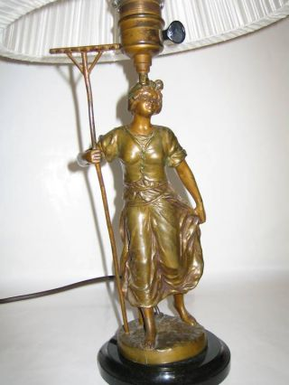 Electrified Antique Lamp Bronze Sculpture +lampshade photo
