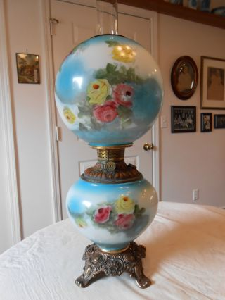 Antique Blue Gone With The Wind F.  G.  Co Kerosene Oil Lamp W/ Pink & Yellow Roses photo