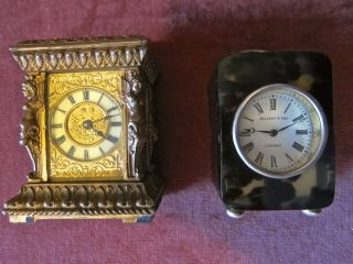 Two Antique European Desk Mantel Carriage Clock No Pocket Watch Verge photo