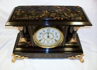 Antique Seth Thomas Adamantine Mantel Clock Model Hydra J1898 Restored Nr Look photo