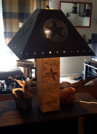 Rustic Table Lamp | Handcarved Limestone With The Texas Lone Star photo