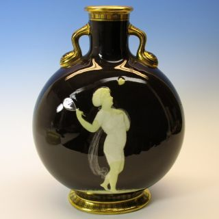 Antique Moore Pate Sur Pate Moon Flask - Woman Hitting Heart With Racquet 1890 ' S photo