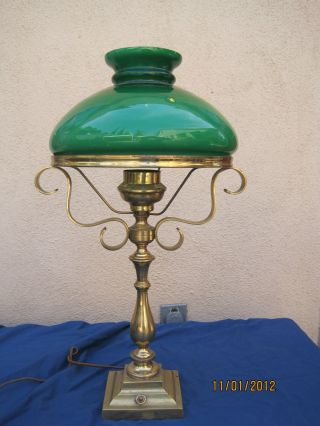 Early 1900 ' S Antique Brass Metal Lamp With Green Cased Glass 10