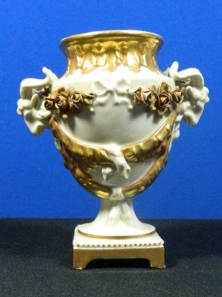 Antique Kpm Dresden Hand Painted Porcelain Urn Ram Heads Gold Gilt Signed photo
