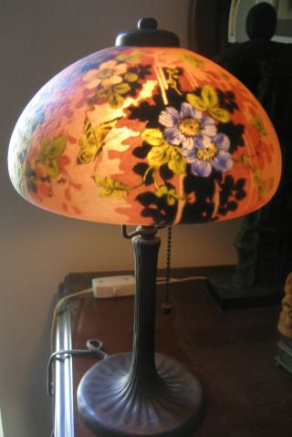 Handel Boudoir Lamp With Bronze Base Reverse Painted Shade - Double Signed photo