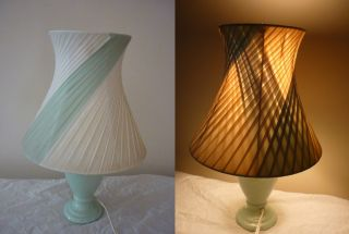 Retro Vintage Barsony Era White Light Blue Ribbon Shade Lamp Tested & Working photo