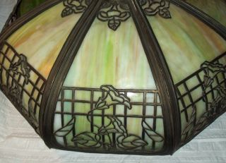 Vintage/antique Slag Glass 8 Panel Lamp Shade,  Metal Flower Overlay photo