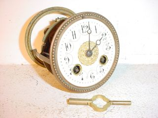 Antique Little French Clock Movement C 1860 Cream Enamel Dial N°78/ Hole:3.  46